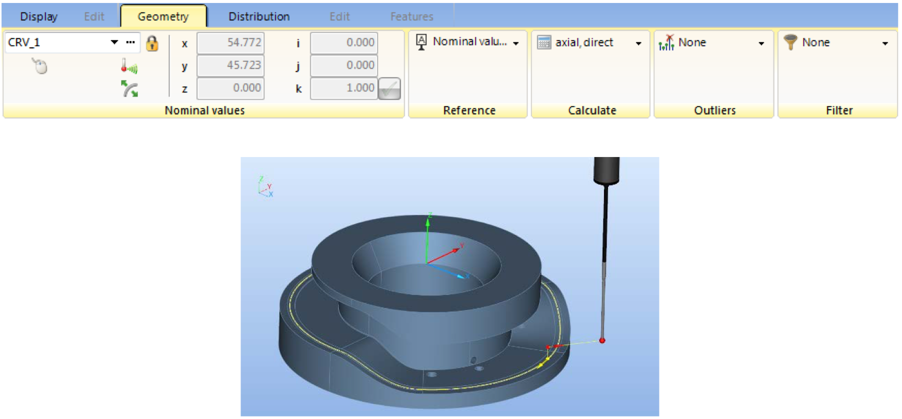 Scanning cam profile axial (3D curve on cylinder intersection)
